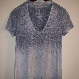 Choker neckline short sleeve shirt